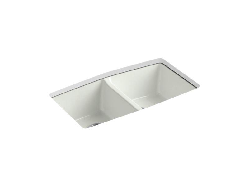 "Kohler K-5846-5U-NY Brookfield 33"" x 22"" x 9-5/8"" Under-mount Double-equal Kitchen Sink in Dune"