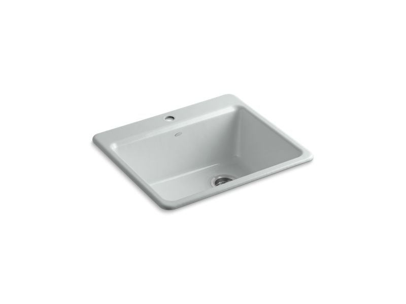 """Kohler K-5872-1A1-95 Riverby 25"""" x 22"""" x 9-5/8"""" Top-mount Single-bowl Kitchen Sink with Sink Rack in Ice Grey"""