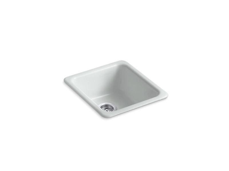 "Kohler K-6584-95 Iron/Tones 17"" x 18-3/4"" x 8-1/4"" Top-/Under-mount Single-bowl Kitchen Sink in Ice Grey"