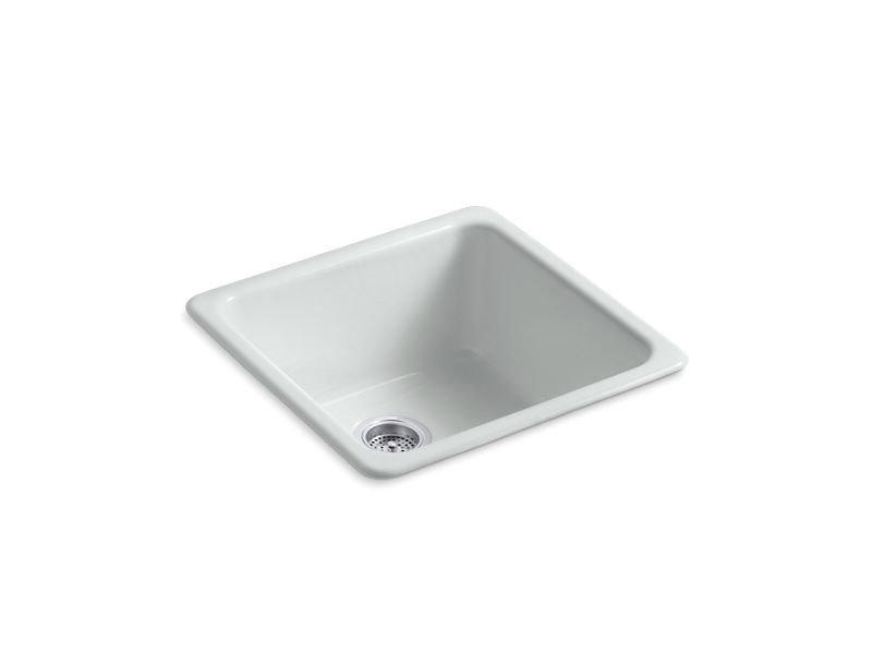 "Kohler K-6587-95 Iron/Tones 20-7/8"" x 20-7/8"" x 10"" Top-/Under-mount Single-bowl Kitchen Sink in Ice Grey"