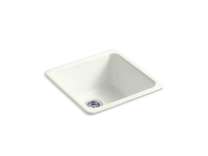 "Kohler K-6587-NY Iron/Tones 20-7/8"" x 20-7/8"" x 10"" Top-/Under-mount Single-bowl Kitchen Sink in Dune"