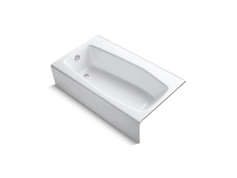 """Kohler K-713-0 Villager 60"""" x 34"""" Alcove Bath with Left-Hand Drain in White"""