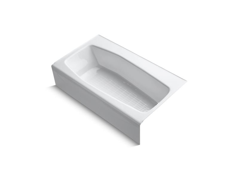 """Kohler K-714-0 Villager 60"""" x 34"""" Alcove Bath with Right-Hand Drain in White"""