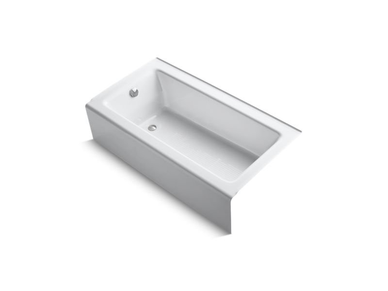 """Kohler K-875-0 Bellwether 60"""" x 32"""" Alcove Bath with Integral Apron and Left-Hand Drain in White"""