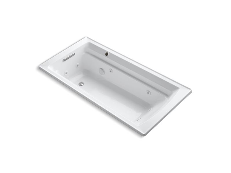 "Kohler K-1124-W1-0 Archer 72"" x 36"" Drop-In Whirlpool Bathtub with Reversible Drain and Bask Heated Surface in White"