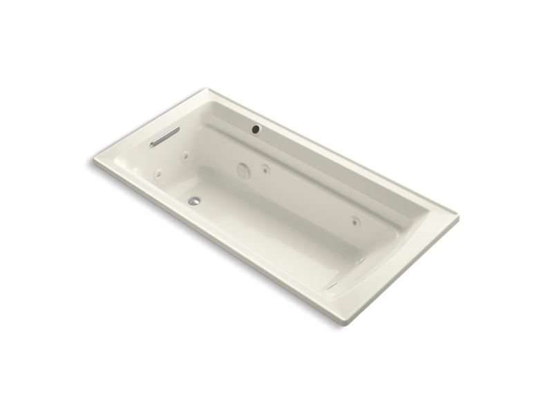 "Kohler K-1124-W1-96 Archer 72"" x 36"" Drop-In Whirlpool Bathtub with Reversible Drain and Bask Heated Surface in Biscuit"