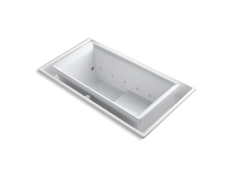 """Kohler K-1188-C1-0 Sok 75"""" x 41"""" Drop-In Effervescence Bath with Chromatherapy and Right-Hand Drain in White"""