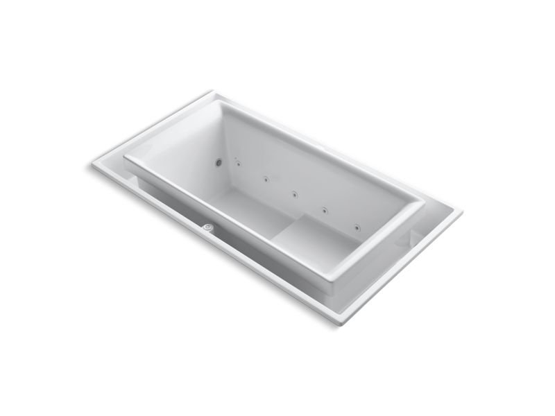"""Kohler K-1189-C1-0 Sok 75"""" x 41"""" Drop-In Effervescence Bath with Chromatherapy and Left-Hand Drain in White"""