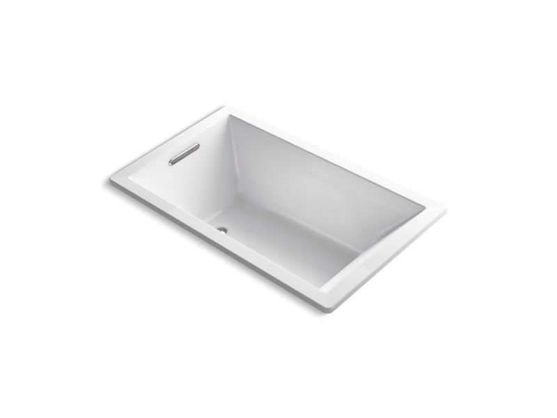 Kohler K-1849-VB-0 Underscore Rectangle Drop-In Vibracoustic Bath in White