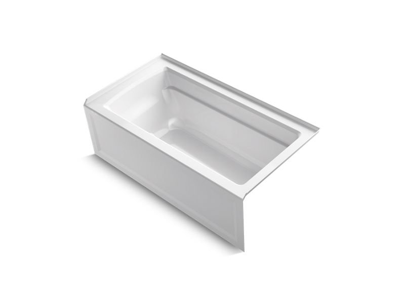Kohler K-1123-RA-0 Archer Rectangular Alcove Bath with Integral Apron and Right-Hand Drain in White