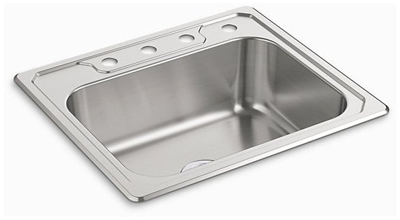 "Sterling Middleton 14711-4-NA 25"" X 22"" 8"", 4-Hole, Satin Deck, Luster Bowl, Stainless Steel, Top Mount, 1-Bowl, Kitchen Sink"