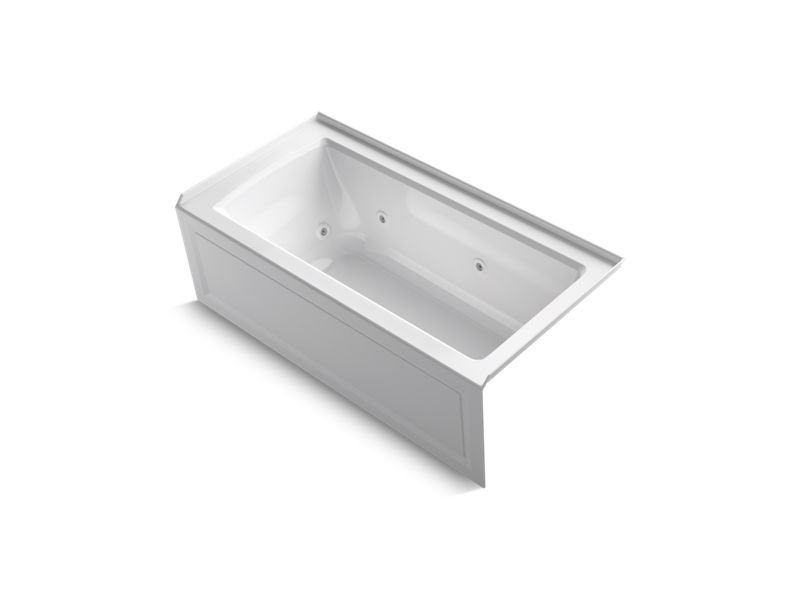 Kohler K-1947-HRA-0 Archer Three-Side Integral Flange Whirlpool with Right-Hand Drain, Heater and Comfort Depth Design in White
