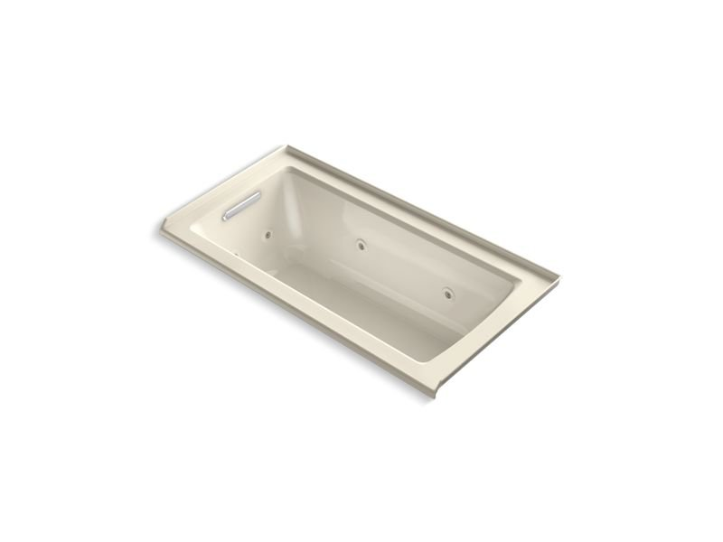 Kohler K-1947-L-47 Archer Alcove Whirlpool with Integral Flange and Left-Hand Drain in Almond