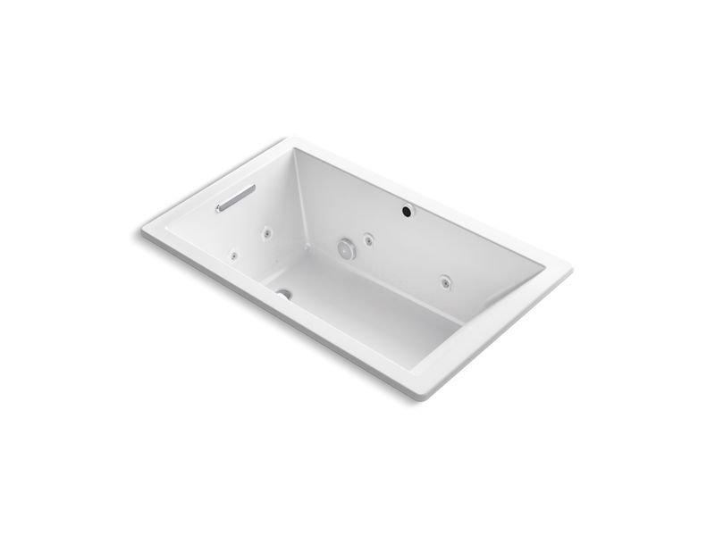 Kohler K-1849-XH2G-0 Underscore Rectangle Drop-In Whirlpool + Bubblemassage Air Bath in White