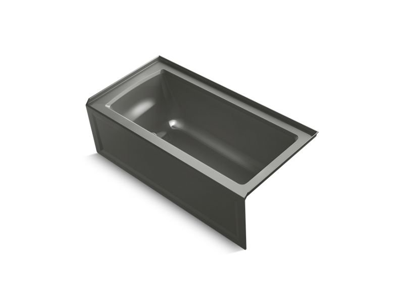 Kohler K-1946-RA-58 Archer Alcove Bath with Integral Apron, Integral Flange and Right-Hand Drain in Thunder Grey