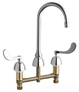 "Chicago 201-AGN8AE29-317AB 1/2"" Npsm 2.2Gpm Chrome Plated 2-Wrist Blade Handle Bar Faucet L/Spray"