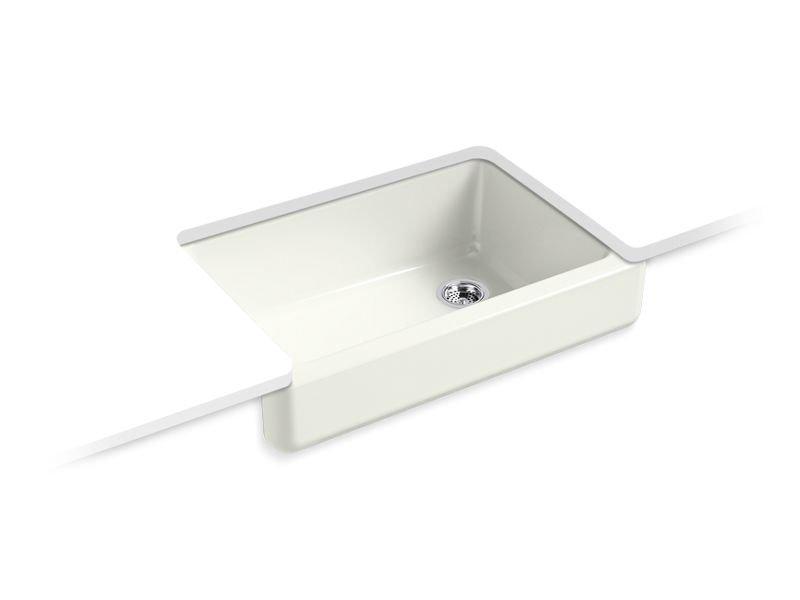 "Kohler K-5826-NY Whitehaven Self-trimming 32-1/2"" x 21-9/16"" x 9-5/8"" Under-mount Single-bowl Sink with Short Apron in Dune"
