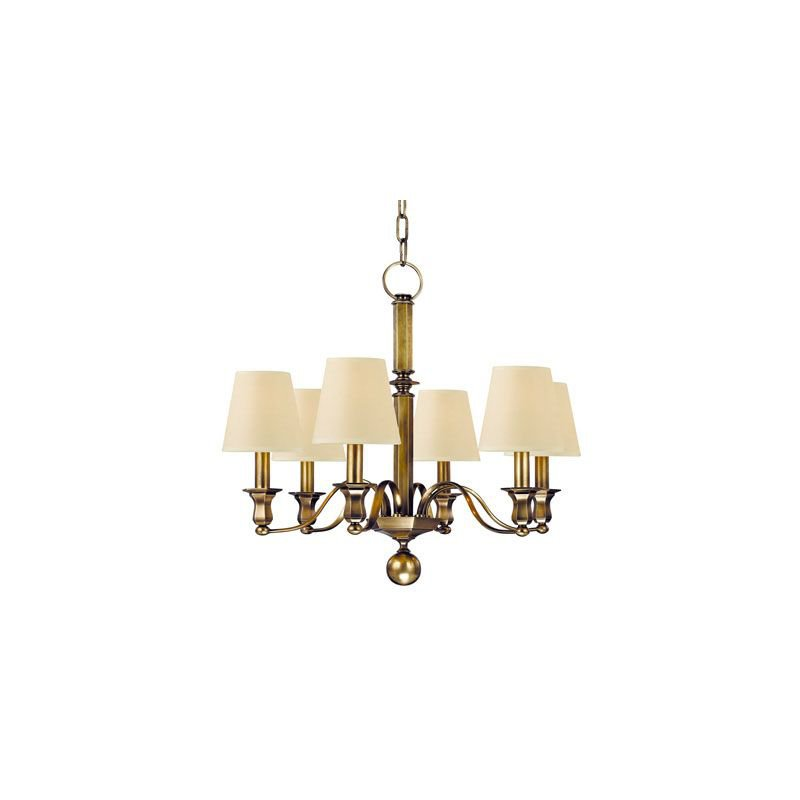 """Hudson Valley Lighting 1416-AGB 6-Lamp 60W E12 Candelabra 76.75"""" X 26.5"""" Cream Eco Paper Shade Aged Brass One Tier Chandelier"""