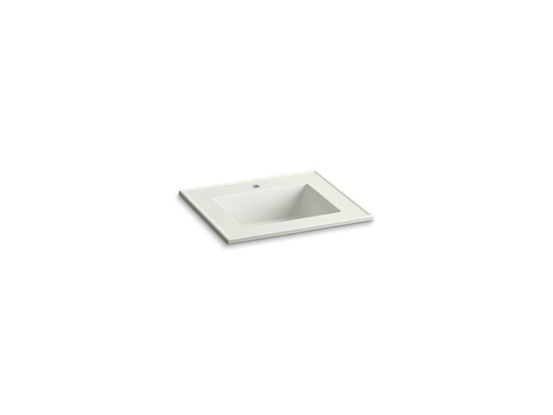 "Kohler K-2777-1-G82 Ceramic/Impressions 25"" Rectangular Vanity-Top Bathroom Sink with Single Faucet Hole in Dune Impressions"