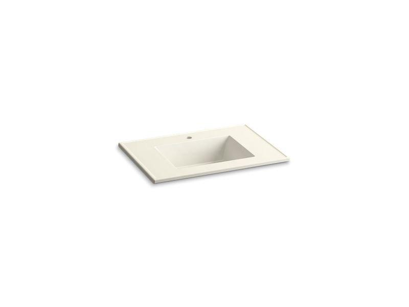 "Kohler K-2779-1-G83 Ceramic/Impressions 31"" Rectangular Vanity-Top Bathroom Sink with Single Faucet Hole in Biscuit Impressions"