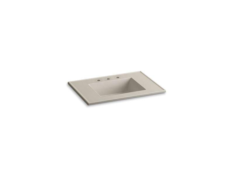 "Kohler K-2779-8-G85 Ceramic/Impressions 31"" Rectangular Vanity-Top Bathroom Sink with 8"" Widespread Faucet Holes in Sandbar Impressions"
