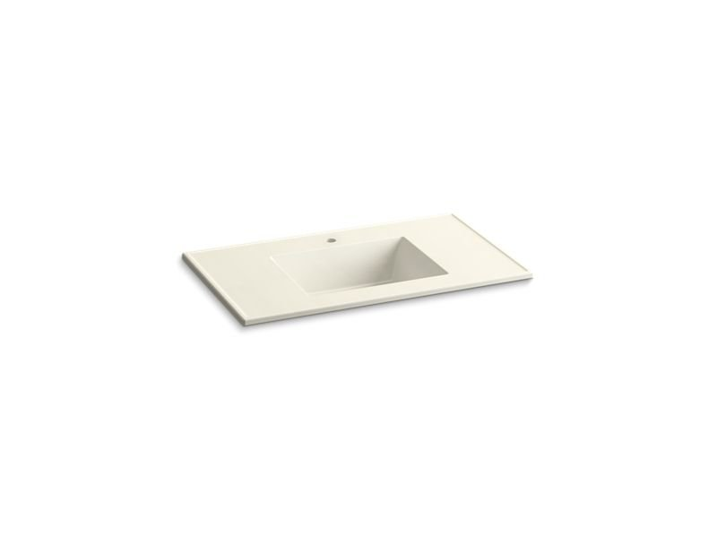 "Kohler K-2781-1-G83 Ceramic/Impressions 37"" Rectangular Vanity-Top Bathroom Sink with Single Faucet Hole in Biscuit Impressions"