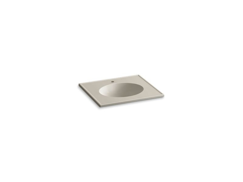 "Kohler K-2791-1-G85 Ceramic/Impressions 25"" Oval Vanity-Top Bathroom Sink with Single Faucet Hole in Sandbar Impressions"