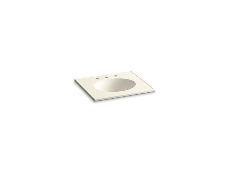 "Kohler K-2791-8-G83 Ceramic/Impressions 25"" Oval Vanity-Top Bathroom Sink with 8"" Widespread Faucet Holes in Biscuit Impressions"