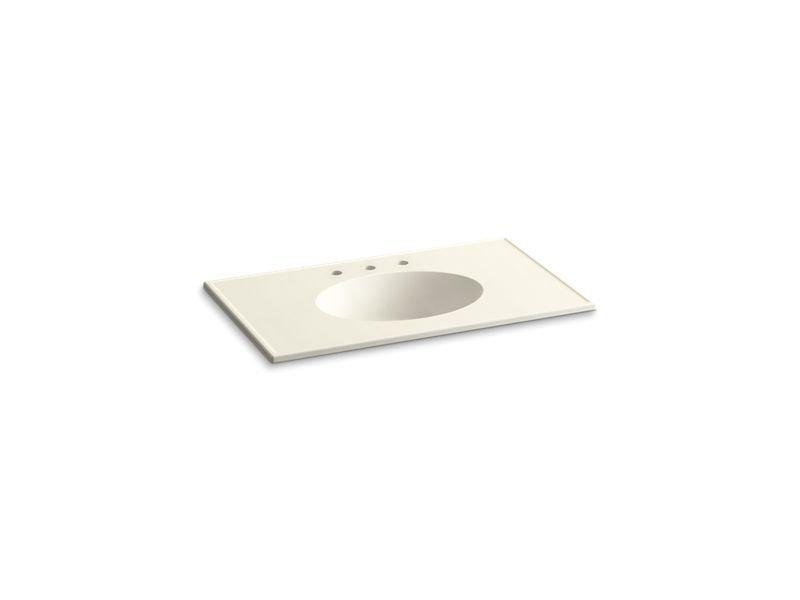 "Kohler K-2798-8-G83 Ceramic/Impressions 37"" Oval Vanity-Top Bathroom Sink with 8"" Widespread Faucet Holes in Biscuit Impressions"
