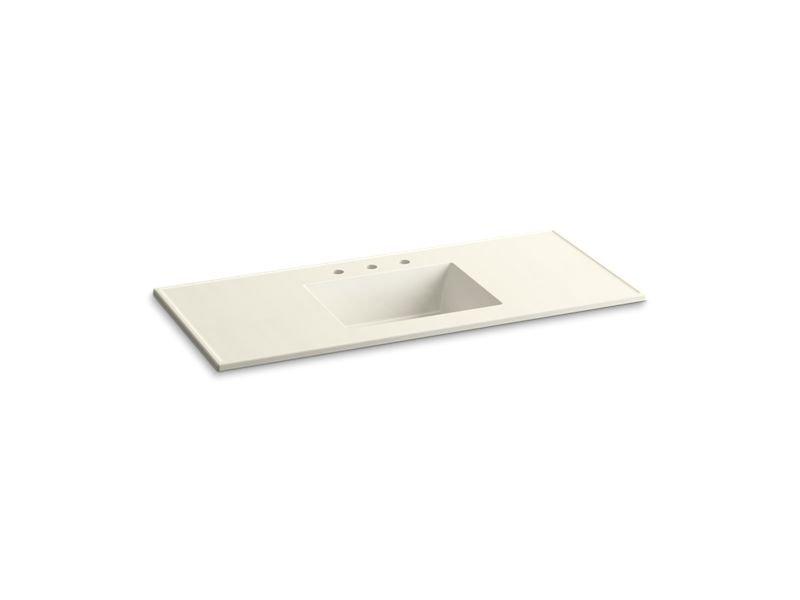 "Kohler K-2783-8-G83 Ceramic/Impressions 49"" Rectangular Vanity-Top Bathroom Sink with 8"" Centerset Faucet Holes in Biscuit Impressions"