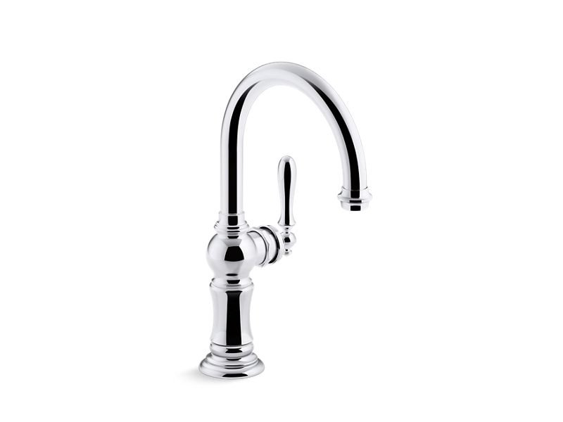 Kohler K-99264-CP Artifacts Single-Handle Bar Sink Faucet with 13-1/16 Swing Spout with Arc Spout Design in Polished Chrome