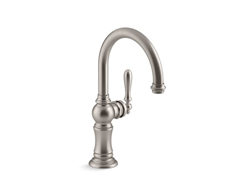 Kohler K-99264-VS Artifacts Single-Handle Bar Sink Faucet with 13-1/16 Swing Spout with Arc Spout Design in Vibrant Stainless