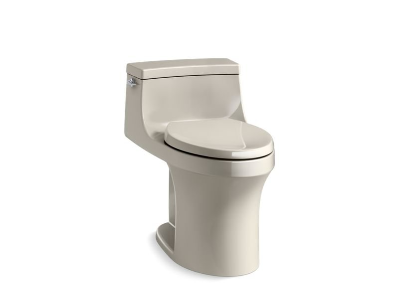 Kohler K-5172-G9 San Souci Comfort Height One-piece Compact Elongated 1.28 Gpf Toilet with Aqua piston Flushing Technology, Left-hand Trip Lever and Concealed Trapway in Sandbar