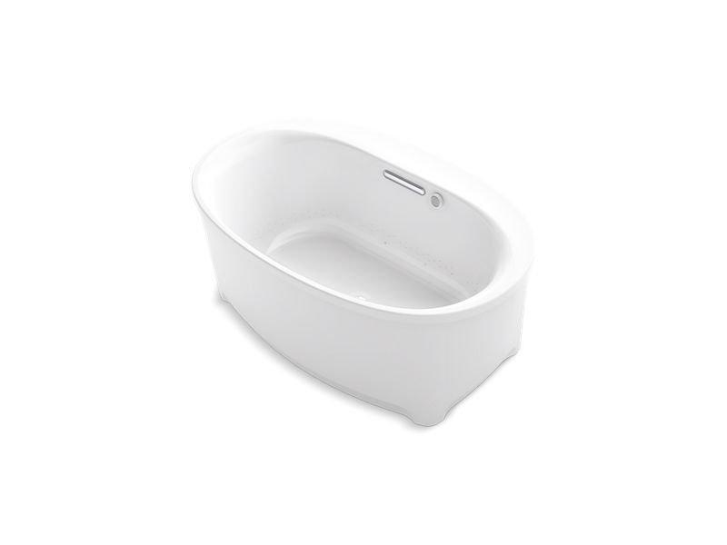 Kohler K-5702-G-0 Underscore Oval Freestanding Bubblemassage Air Bath in White