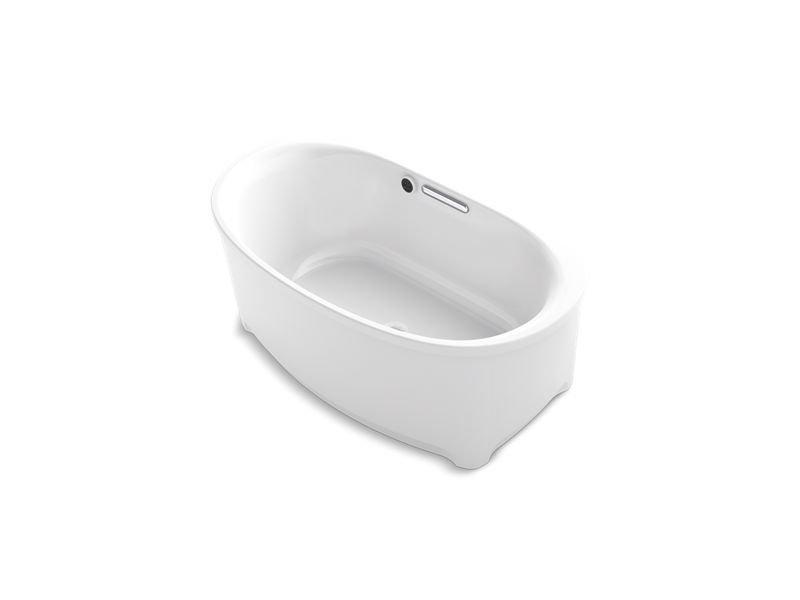 Kohler K-5701-W1-0 Underscore Oval Freestanding Bath with Bask Heated Surface in White