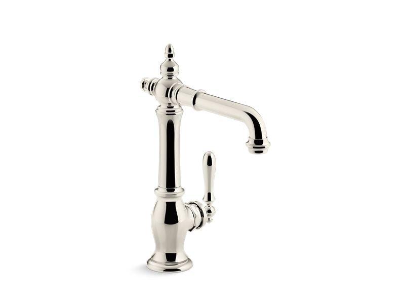 Kohler K-99267-SN Artifacts Bar Sink Faucet, Victorian Spout Design in Vibrant Polished Nickel